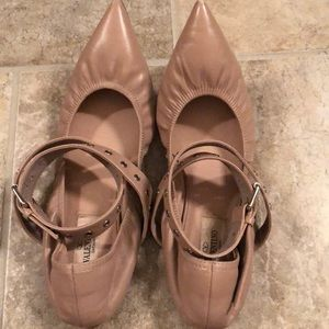 Valentino Wrap Leather Pointy Toe Ballet Flats